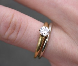 Pierścionki Zaręczynowe Białe Złoto Z Szafirem Brylantem